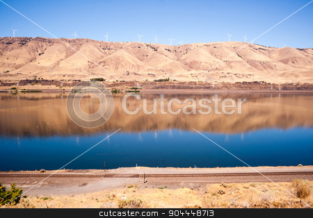 Dry Calm Clear Summer Day Columbia River Gorge Oregon Washington stock photo, Still waters run deep in the Columbia Gorge by Christopher Boswell