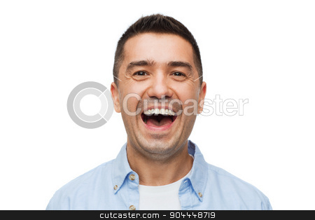 laughing man stock photo, happiness, emotions and people concept - laughing man by Syda Productions