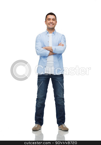 smiling man with crossed arms stock photo, happiness and people concept - smiling man with crossed arms by Syda Productions