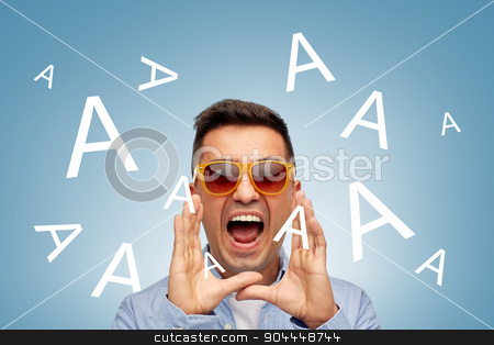 face of angry shouting a letters man in sunglasses stock photo, summer, emotions, communication and people concept - face of angry middle aged latin man in shirt and sunglasses over blue background with a letters by Syda Productions