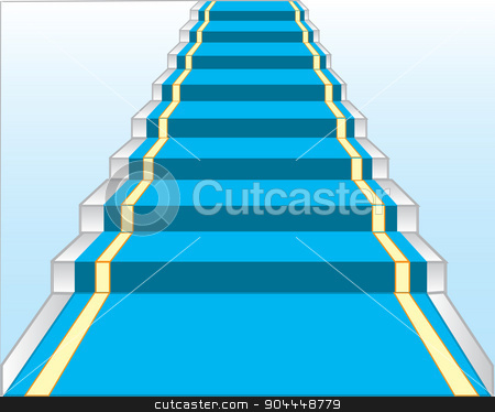 Stairway with blue track stock vector clipart, Paradnaya stairway with blue track.Vector illustration of the stairway by cobol1964