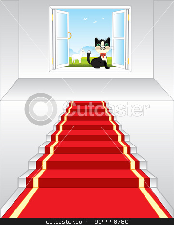 Stairway and window in nature stock vector clipart, Stairway with blue track and opened by window in nature by cobol1964