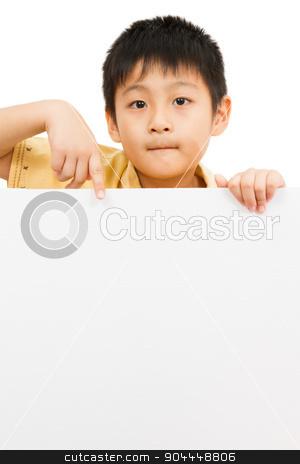 Asian Chinese Children Holding blank white board. stock photo, Asian Chinese Little Boy Holding blank white board by Tan Kian Khoon