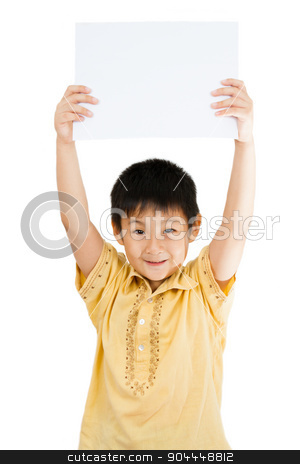 Asian Chinese Children Holding blank white board. stock photo, Asian Chinese Little Boy Holding blank white board by Tan Kian Khoon