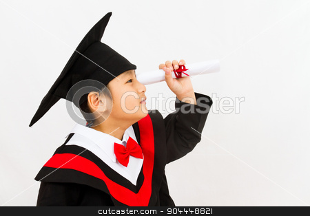 Chinese Graduation Boy Finding a Job stock photo, Chinese little boy graduation in white backround studio shot. by Tan Kian Khoon