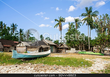 indonesian house - shack on beach stock photo, traditional indonesian poor house - cabin with boat on beach, Nusa Penida Island, Toyapakeh, Bali by Artush