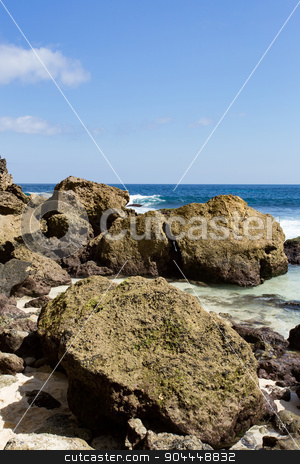 rock formation on coastline at Nusa Penida island  stock photo, rock formation on coastline at Nusa Penida island, Tembeling Nusa Penida, Bali Indonesia by Artush
