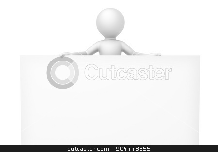3d man white board stock photo, An image of a man with a white board with space for your content by Markus Gann
