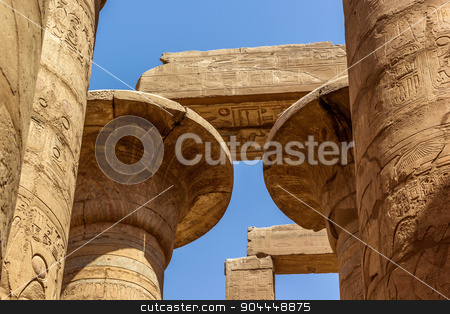 capitel of Temple of Karnak stock photo, a horizontal view of a detail of a capitel of the Great Hypostyle Hall of the Temple of Karnak, Luxor (Egypt) by Noelia