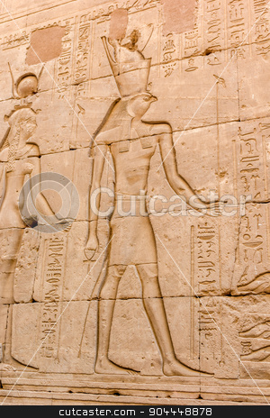 relief of the temple of Horus stock photo, a vertical view of the relief of the temple of Horus in Edfu, Egypt by Noelia