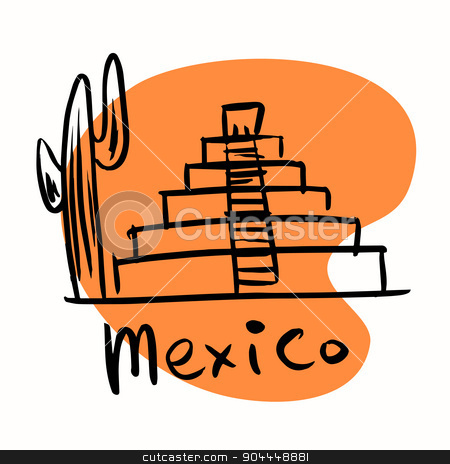 Mexico city Mayan pyramids stock vector clipart, Mexico city Mayan pyramids. A stylized image of the city tourism travel places by rogistok