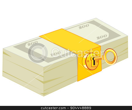 Pack of the money on lock stock vector clipart, Pack of the money closing on lock from gild by cobol1964