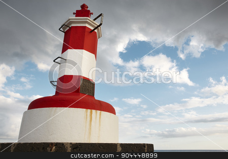 Red and white lighthouse in Povoacao, Sao Miguel, Azores. Portug stock photo, Red and white lighthouse in Povoacao, Sao Miguel, Azores. Portugal. Horizontal by ABBPhoto