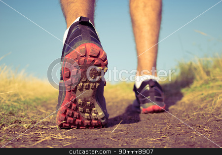 Vintage Runner stock photo, Athlete training on a hill by Roland Valentin Raicu
