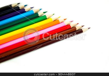 Color pencil set stock photo, Multicolor spectrum made from pencils by Roland Valentin Raicu