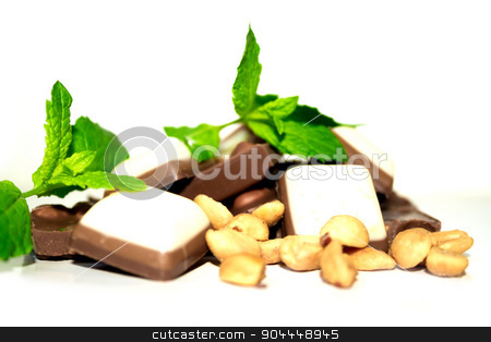 Chocolate, mint and peanuts stock photo, Closeup shot of some peanuts, mint leaves and chocolate by Roland Valentin Raicu