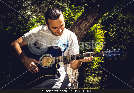 Guitar Player stock photo, Guitar player singing in a park sitting on a tree by Roland Valentin Raicu