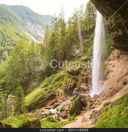 Pericnik waterfall in Triglav National Park, Julian Alps, Slovenia stock photo, Beautiful natural landscape under Pericnik waterfall in Vrata Valley in Triglav National Park in Julian Alps, Slovenia. by kasto