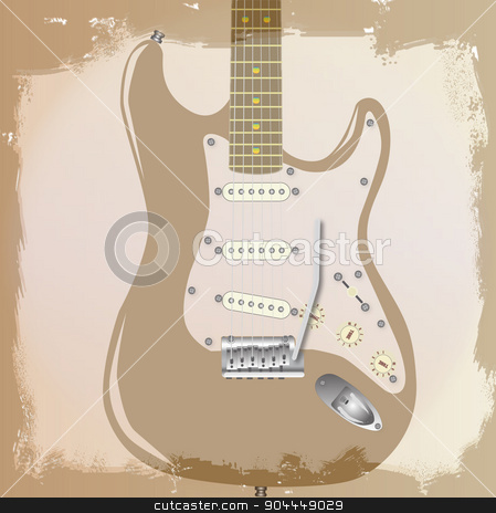 Guitar Background stock vector clipart, An electric guitar grunge style background with faded and ragged areas by Kotto
