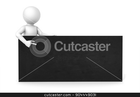 3d man black board stock photo, An image of a man with a black board with space for your content by Markus Gann