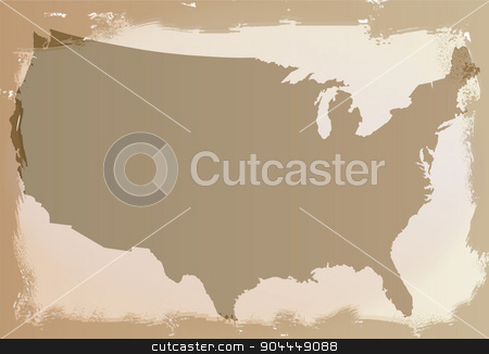 United States of America Background stock vector clipart, A USA silhouette map as a background with faded and ragged areas by Kotto