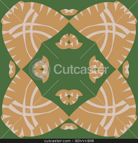 Symmetrical Abstract Brown Pattern stock vector clipart, Symmetrical abstract pattern of curved lines and triangles by Eric Basir