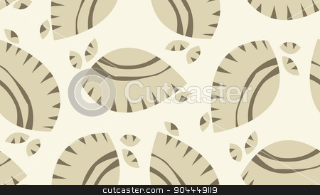 Brown Abstract Seashells Background stock vector clipart, Seamless background pattern of abstract brown seashells by Eric Basir