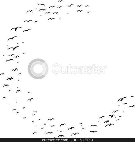 Bird Formation In C stock vector clipart, Illustration of a flock of birds in the shape of the letter c by Eric Basir