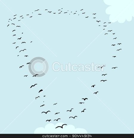 Bird Formation In D stock vector clipart, Illustration of a flock of birds in the shape of the letter d by Eric Basir