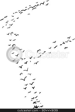 Bird Formation In F stock vector clipart, Illustration of a flock of birds in the shape of the letter f by Eric Basir