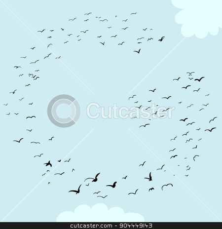 Bird Formation In G stock vector clipart, Illustration of a flock of birds in the shape of the letter g by Eric Basir