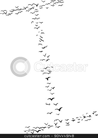 Bird Formation In I stock vector clipart, Illustration of a flock of birds in the shape of the letter i by Eric Basir