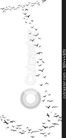 Bird Formation In J stock vector clipart, Illustration of a flock of birds in the shape of the letter j by Eric Basir