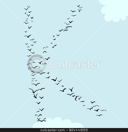 Bird Formation In K stock vector clipart, Illustration of a flock of birds in the shape of the letter k by Eric Basir