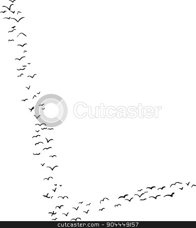 Bird Formation In L stock vector clipart, Illustration of a flock of birds in the shape of the letter l by Eric Basir