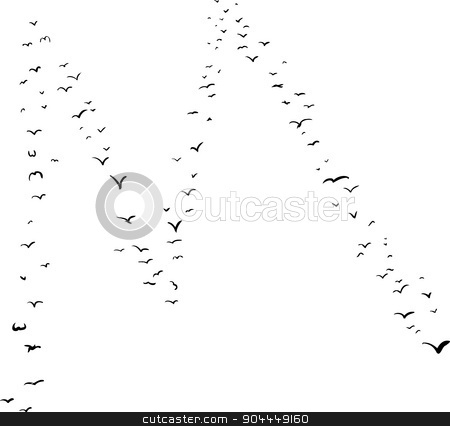 Bird Formation In M stock vector clipart, Illustration of a flock of birds in the shape of the letter m by Eric Basir
