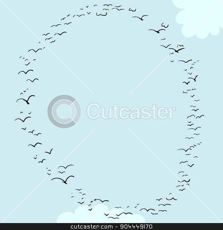 Bird Formation In O stock vector clipart, Illustration of a flock of birds in the shape of the letter o by Eric Basir