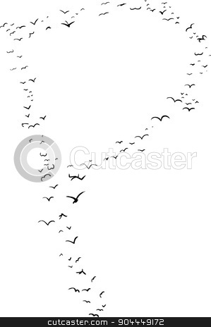 Bird Formation In P stock vector clipart, Illustration of a flock of birds in the shape of the letter p by Eric Basir