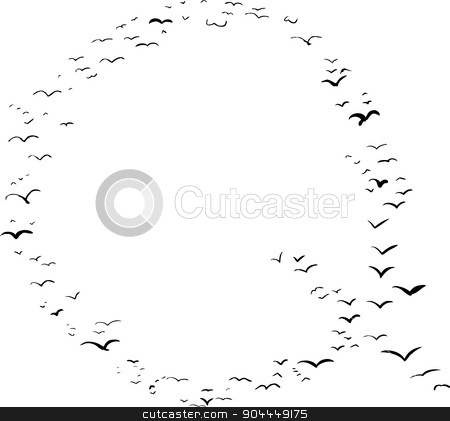 Bird Formation In Q stock vector clipart, Illustration of a flock of birds in the shape of the letter q by Eric Basir