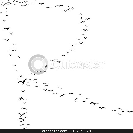Bird Formation In R stock vector clipart, Illustration of a flock of birds in the shape of the letter r by Eric Basir