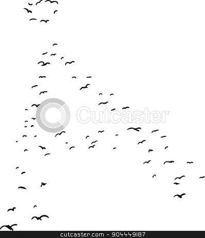 Bird Formation In Ringed A stock vector clipart, Illustration of a flock of birds in the shape of the ringed a letter by Eric Basir