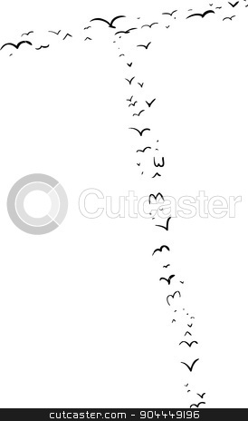 Bird Formation In T stock vector clipart, Illustration of a flock of birds in the shape of the letter t by Eric Basir