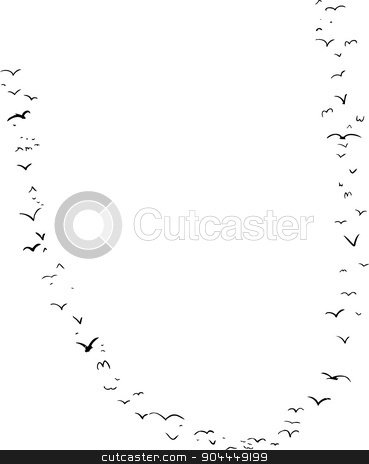 Bird Formation In U stock vector clipart, Illustration of a flock of birds in the shape of the letter u by Eric Basir