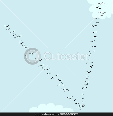 Bird Formation In V stock vector clipart, Illustration of a flock of birds in the shape of the letter v by Eric Basir