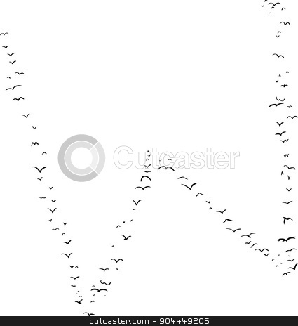 Bird Formation In W stock vector clipart, Illustration of a flock of birds in the shape of the letter w by Eric Basir