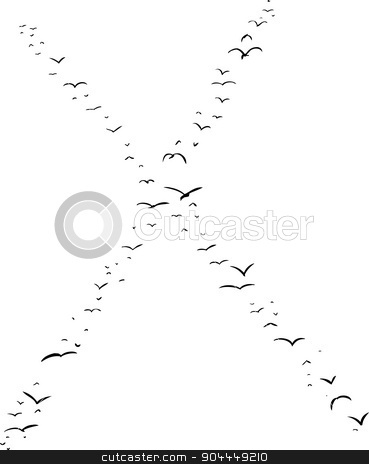 Bird Formation In X stock vector clipart, Illustration of a flock of birds in the shape of the letter x by Eric Basir