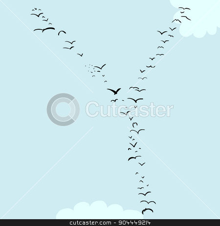 Bird Formation In Y stock vector clipart, Illustration of a flock of birds in the shape of the letter Y by Eric Basir