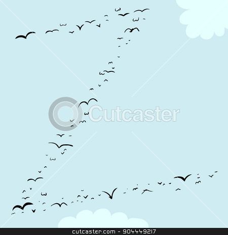 Bird Formation In Z stock vector clipart, Illustration of a flock of birds in the shape of the letter z by Eric Basir