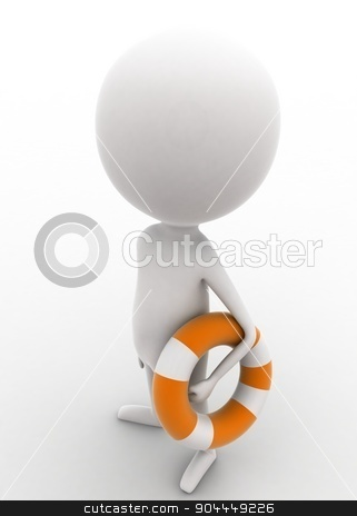 3d man holding safety folating tube concept  stock photo, 3d man holding safety folating tube concept on white isolated background , top angle view  by 3dlabs