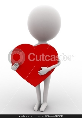 3d man holding big heart concept  stock photo, 3d man holding big heart concept on white isolated background , front angle view  by 3dlabs